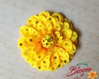 Pin-up hair flower - VIVI - crystalled yellow gerbera daisy hair clip by Bloomorama - tiki retro 40's 50's exotic