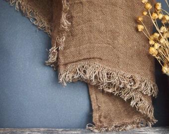 Linen Brown Scarf, Linen Women Accessories, Linen Gift