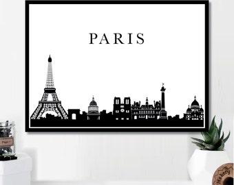 Paris Landmark Print // Minimalist Poster // Wall Art Print // Fashion // Typography // Fashion // Scandinavian // Boho // Modern // Skyline
