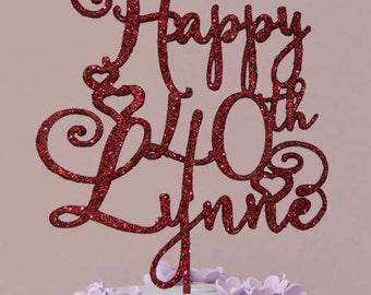 Birthday topper, Happy 40th name, Birthday Cake Decor, Anniversary Happy Bithday Cake Topper