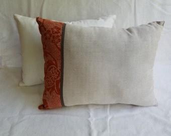 Khaki with Orange Band Pillows