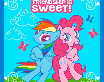 """Hasbro Fabric - My Little Pony Fabric Panel Friendship Is Sweet 100% cotton Fabric By The Panel 43"""" x 35"""" (G194)"""