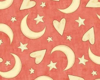 "Nursery Fabric: Expressions of Faith - Hearts, Moon, Stars Fabric Salmon color 100% cotton fabric by the yard 36""x44"" (A223)"