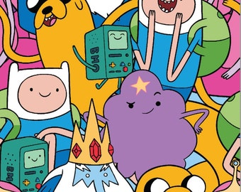 Cartoon Network,Cartoon Fabric: Adventure Time Characters Packed Finn, Jake the Dog, Ice King    100% cotton Fabric by the yard SC445