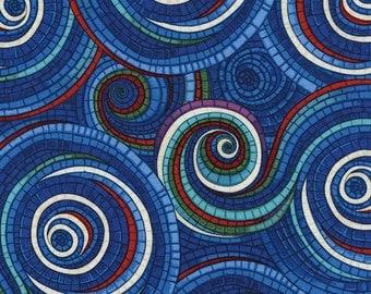 "Winter Christmas Fabric: Mosaic Swirl on Blue by Timeless Treasure 100% cotton fabric by yard 36""x44"" (P237)"
