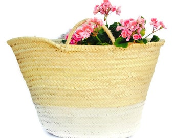 ecofriendly white bottom french basket / market tote / beach bag / straw basket / summer bag
