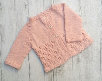 Little Cardigan - Hand Knitted - Size 0 - 100% Australian Wool
