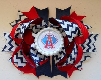MLB Angels Handmade Boutique Layered Hair Bow