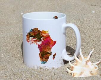 Colorful Map of Africa  Mug - Map Mug - Art Mug - White Ceramic Mug - Colorful Printed Mug - Tee Mug - Coffee Mug - Gift
