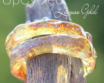 UpCycled SLider Ring lampwork beads MTO from 7 Leagues Tequila Bottle glass and 24k Gold