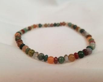 Fancy Jasper Gemstone Seed Bead Bracelet
