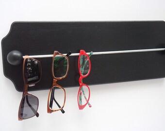 Wooden wall mounted sunglass and eyeglass rack