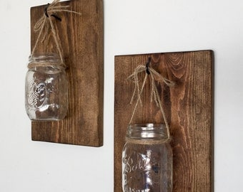 Mason Jar Wall Sconce, Wooden Wall Sconce, Farmhouse Decor, Rustic Decor
