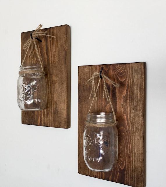 Farmhouse Style Wall Sconces : Mason Jar Wall Sconce Wooden Wall Sconce Farmhouse Decor