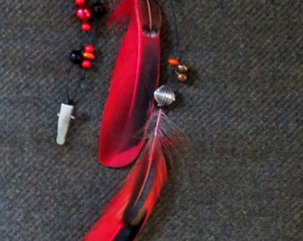 Horse Mane Dangler, Horse Charm, Feather Clip, red/black