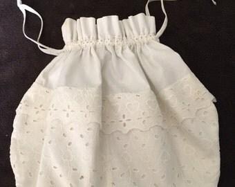 White Cotton Drawstring Bag