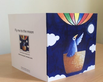 Blank greetings card-Fly me to the moon