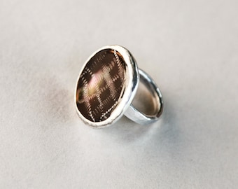 Italian handmade Mother of Pearl button ring encased with aluminum
