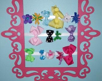 Pink hair bow holder