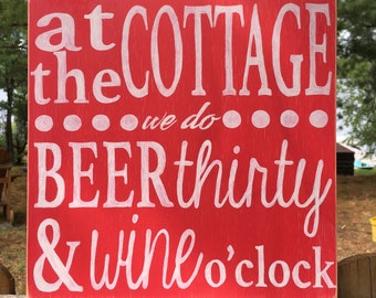 Hand painted wooden cottage sign - custom - cottage sign