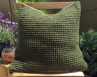 Cozy Knit Pillowcase, Decorative handmade pillow for couch, green and grey knitted pillow cover
