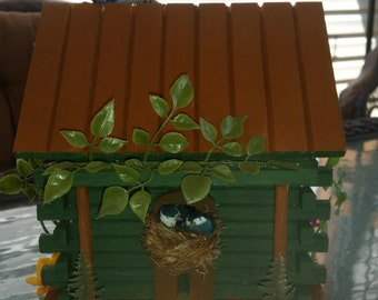 Hand painted & Decorated by me, Wooden bird house