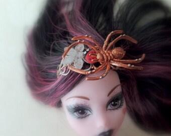 Glitter spider and ladybug high fashion doll headband fascinator Monster High ghouls Liv Barbie, adjustable spider ring, vêtements poupées