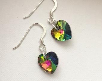 Sterling silver swarovski crystal heart drop earrings
