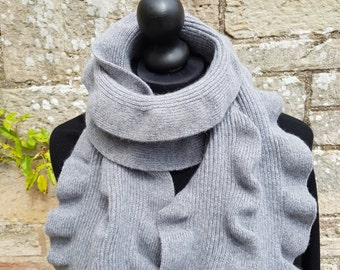 Scottish angora/wool scarf.  Unique ruffle design which looks stylish and individual. Machine knit and hand finished