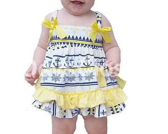 Navy & Yellow Anchor Swing Top Set