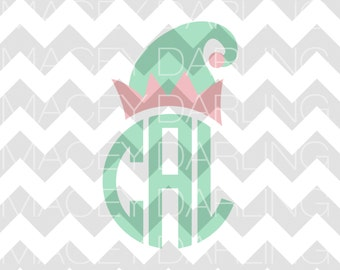 Elf Monogram SVG, Elf Hat SVG, Christmas Monogram SVG, Elf Monogram Dxf, Elf Hat Dxf, Christmas Cut File, Silhouette, Cricut