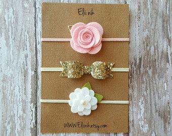 Baby headband set, girl Flower headband, baby headband, baby felt headband set, gold glitter bow headband, flower headband, newborn headband
