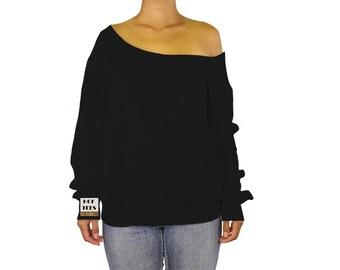Off Shoulder Sweatshirt Slouchy Sweater Off the Shoulder Top Oversized Sweater Pullover Girly Sweater Blank Sweatshirt Handmade Jumper Tee S