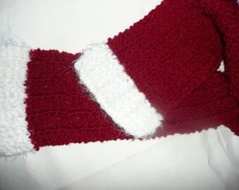 Red Scarf with White Eyelash Trim