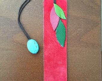 Red Suede Leaf Bookmark