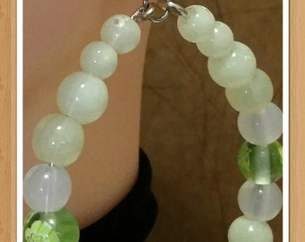 Green Acrylic and Glass Bead Hoops