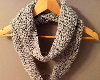 Light spotted grey infinity crochet scarf for her or gifts