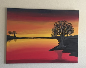 Sunset over the water - HUGE acrylic painting