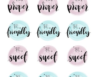 Hand lettered stickers - BE Collection - BE1608
