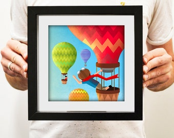 Up Up and Away - Illustration Print