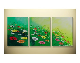 Original Spring Green Floral Triptych Acrylic Painting by artbyboon