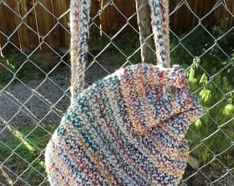 Crochet Drawstring Backpack Handbag