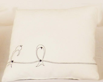 "Cushion cover 45 x 45 cm, ""the swallows on a wire"""