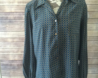Vintage chain link polyester blouse size L