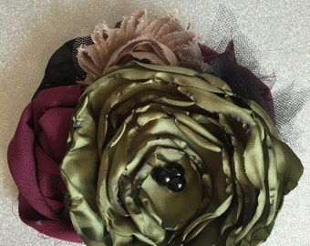Women's Fabric Flower Brooch Pin Accessory Burgundy, Black, Olive Green Taupe Buttons Beads READY TO SHIP