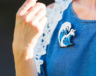 Sea Wave Brooch - Laser Cut Sea Wave - Acrylic Brooch Sea Wave - Jewelry Sea Wave - Plexiglas - Handmade - Barnaul