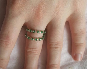 Green and Clear Bead Wraparound Ring