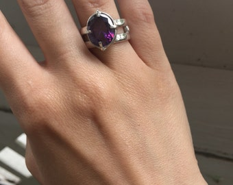 Amethyst prong setting sterling silver ring size 7