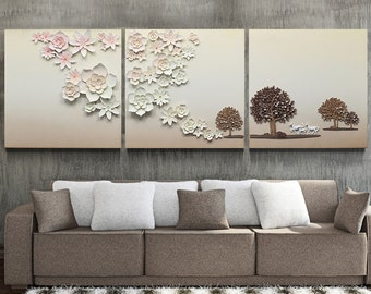 Handmade tree horse cherryflower to be together wall deco
