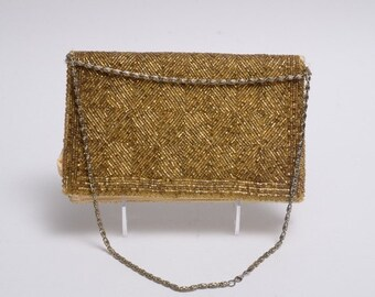 Vintage gold seed bead envelope evening bag (purse)